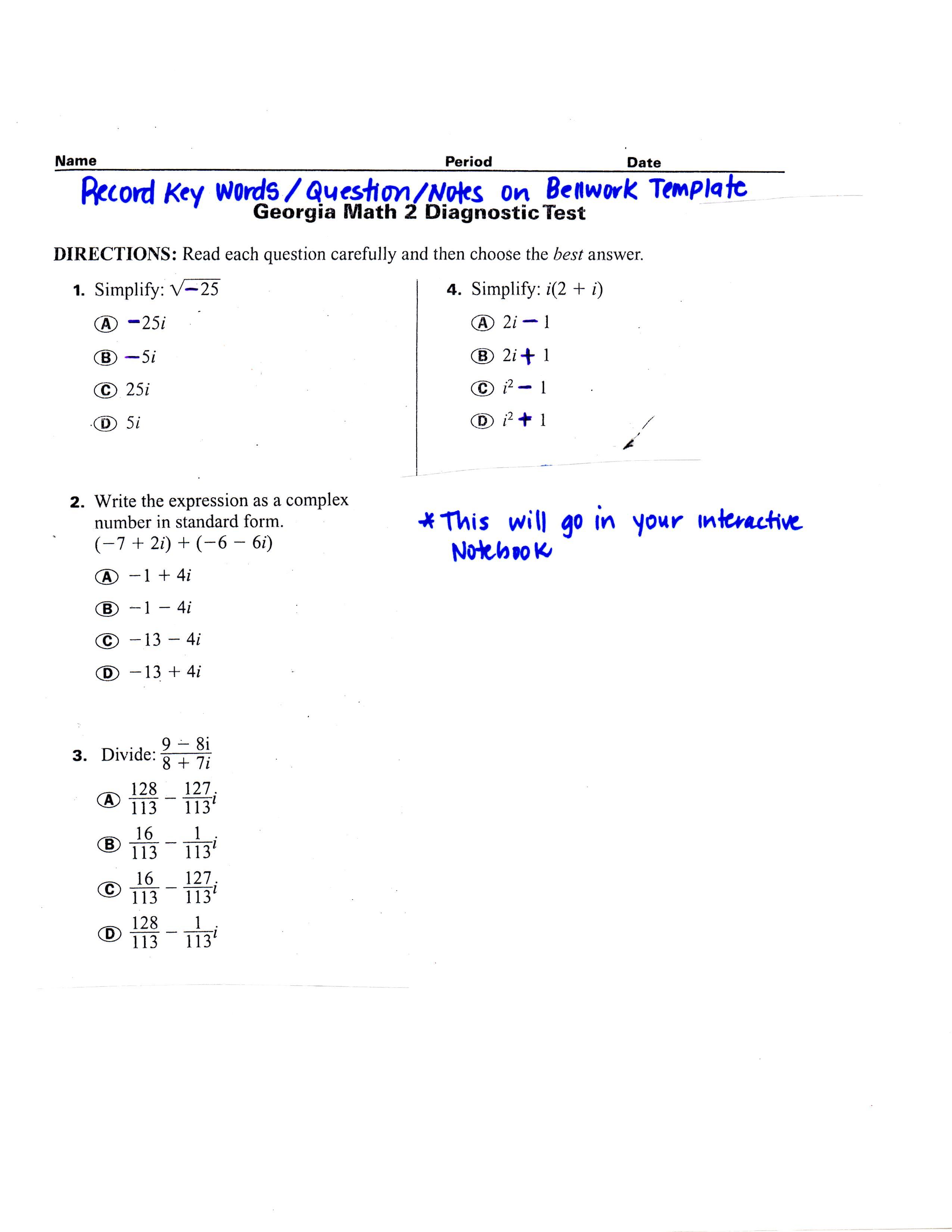 Chandra harriss blog math 2 support bellwork standardize test prep complex numbers falaconquin
